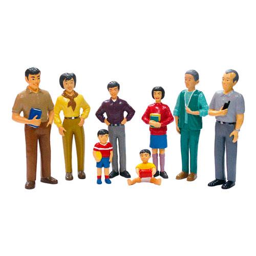Familia asiática 8 figuras detalle 2