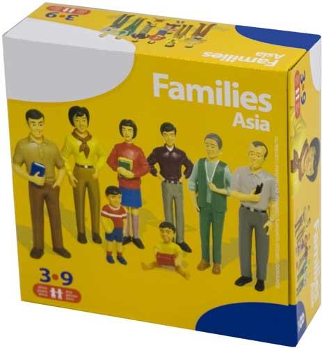 Familia asiática 8 figuras detalle de la caja