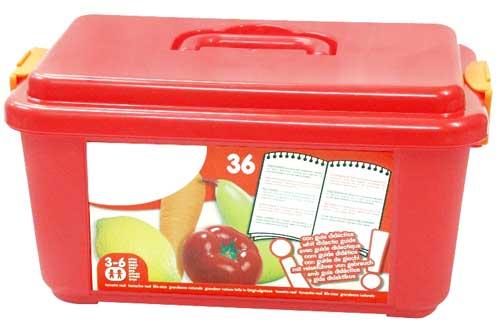 Hortalizas, frutas y frutos secos detalle de la caja