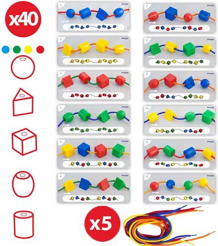 Formas ensartables, caja 40 ud + 5 cordones detalle 5