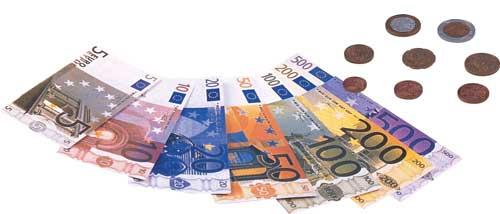 Dinero escolar billetes y monedas