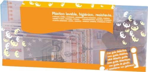 Dinero escolar billetes y monedas detalle de la caja