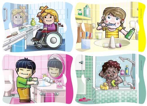 Frame Puzzle Hábitos Higiene 4 ud de 6 pz