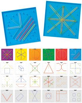 Geoplanos cuadrados + círculos 6 ud