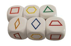 Dados figuras geométricas en color 6ud