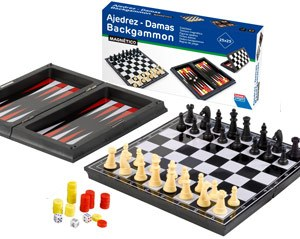 Ajedrez damas backgammon magnético 23 cm