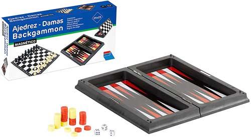 Ajedrez damas backgammon magnético 23 cm detalle backgamon