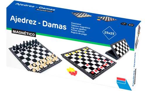 Ajedrez damas backgammon magnético 23 cm detalle de la caja