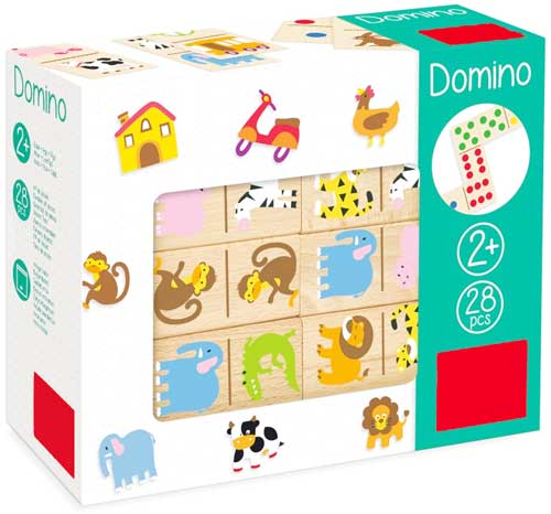 Dominó Zoo madera detalle de la caja
