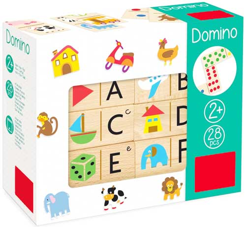 Dominó abecedario madera detalle de la caja