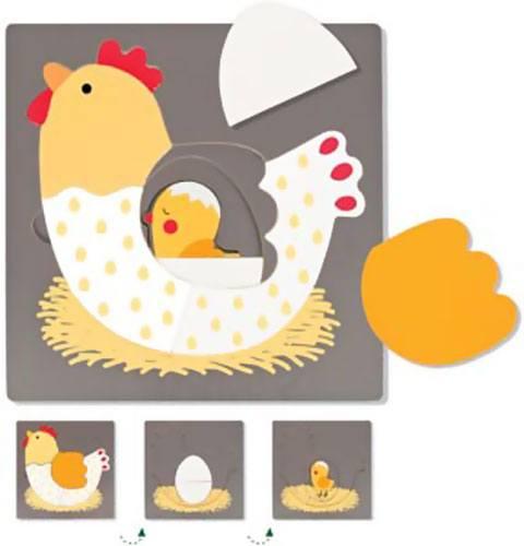 Puzzle 3 niveles gallina