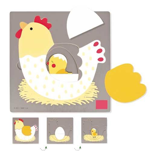 Puzzle 3 niveles gallina 7 piezas