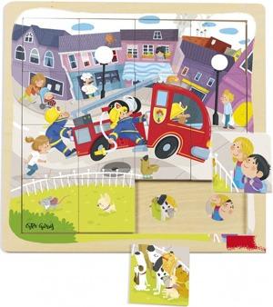 Puzzle camión bomberos 16 piezas