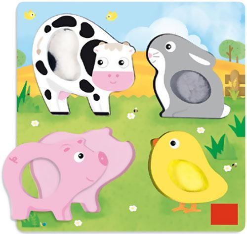Encajable animales tactil granja 4 piezas