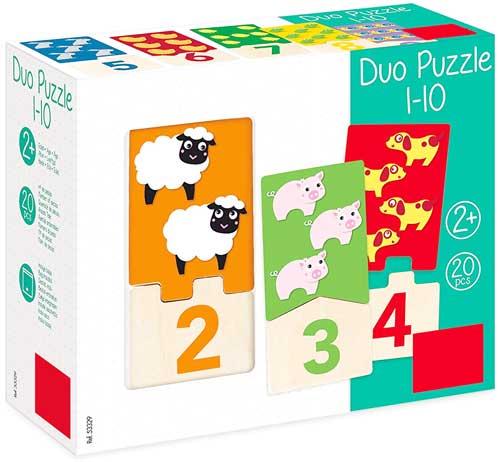 Puzzle 20 pz Duo Números 1-10 detalle de la caja