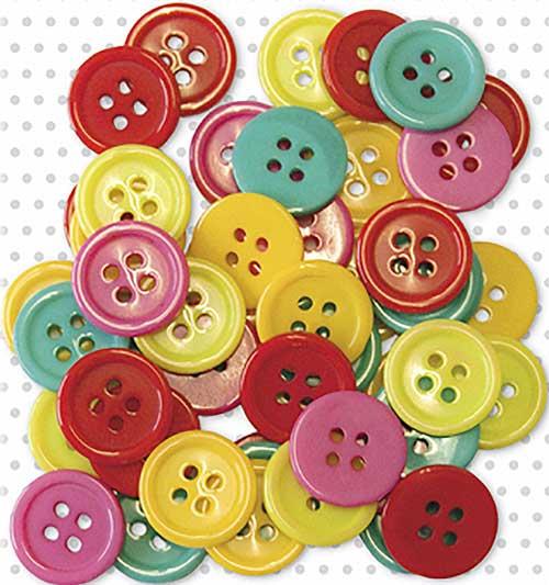 Botones redondos 50 ud colores surtidos