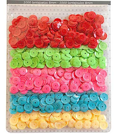 Lentejuelas 5 colores vivos 1000 ud