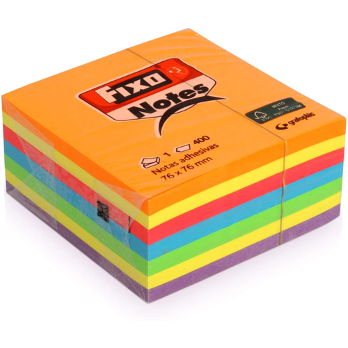 Notas adhesivas colores vivos 75 x 75 mm 400 h