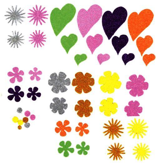 Eva adhesivo flores corazón purpurina 64 ud