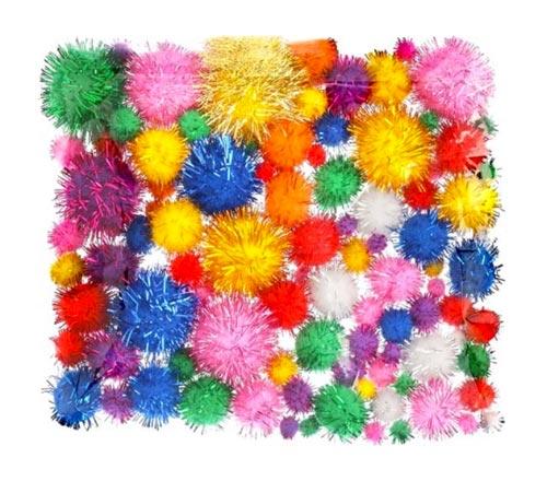Pompones brillantes pequeños 100 ud