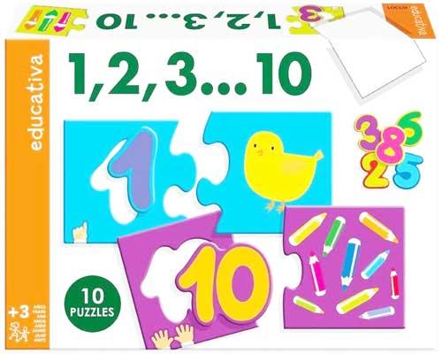 10 puzzles 3 pz Números 1-10 detalle de la caja