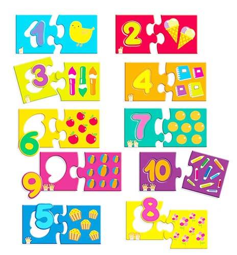 10 puzzles 3 pz Números 1-10