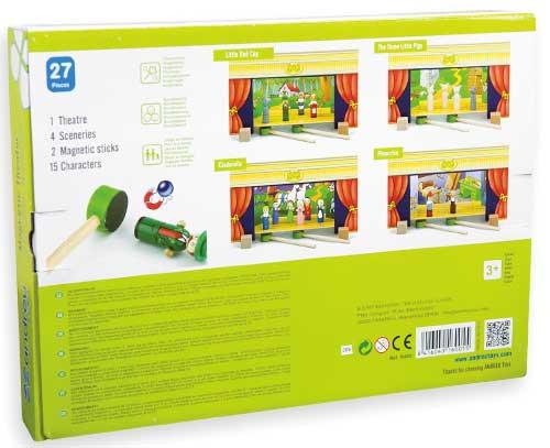 Teatro magnético con 15 personajes detalle de la caja 2