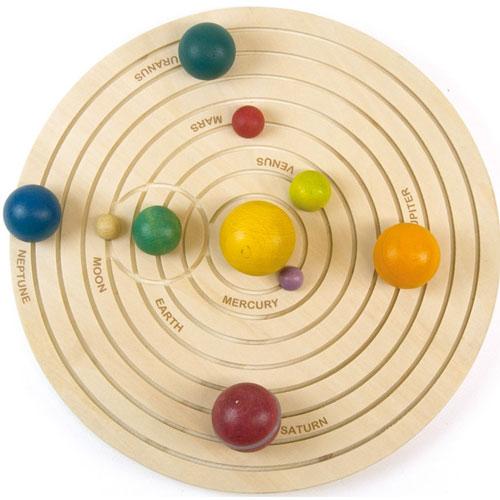 Sistema solar 3D en madera detalle 2