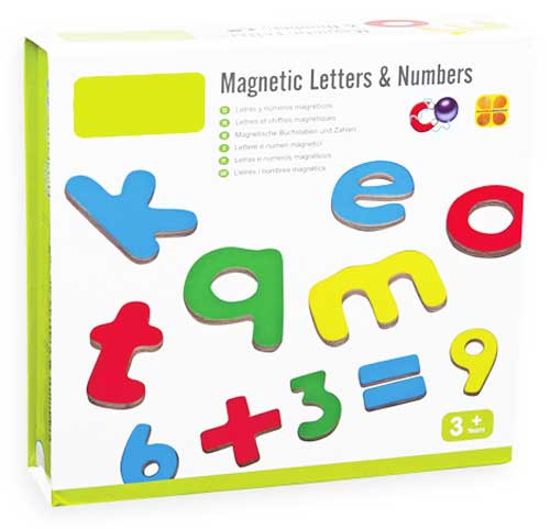 Letras y números magnéticos detalle de la caja
