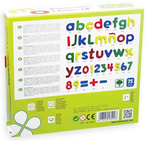 Letras y números magnéticos detalle de la caja por detras