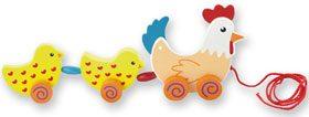 Arrastre gallina con pollitos