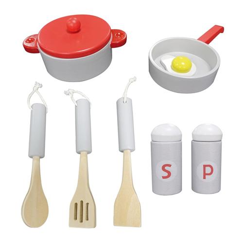 Cocina roja de madera detalle 2
