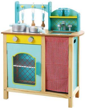 Cocina madera azul