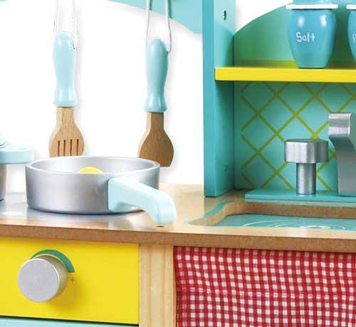 Cocina madera Azul detalle