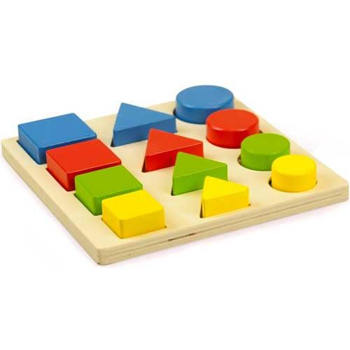 Encajable 3 formas 4 colores madera