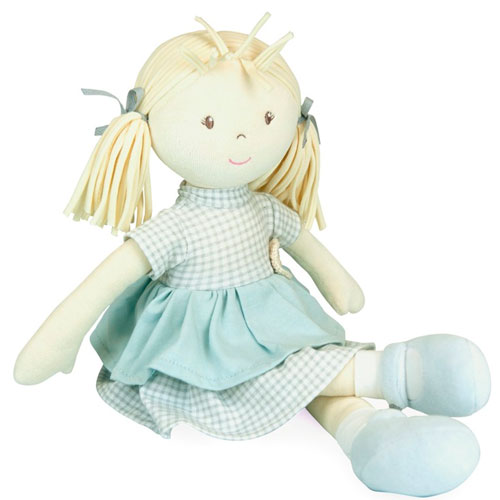 Muñeca de trapo vestido cuadros