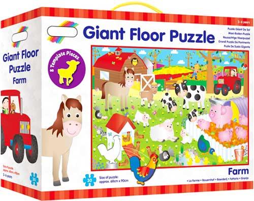 Puzzle de suelo La granja detalle de la caja