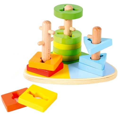 Apilable triangular 3 formas madera