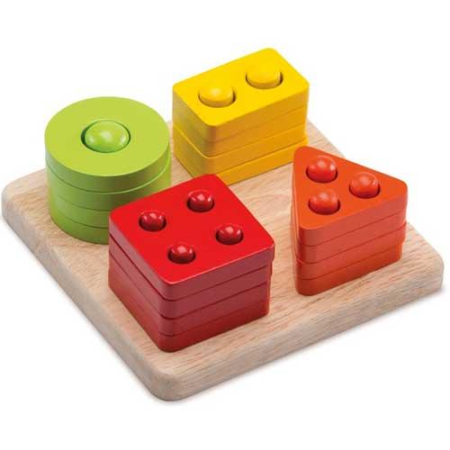 Clasificador de formas del 1 al 4 madera