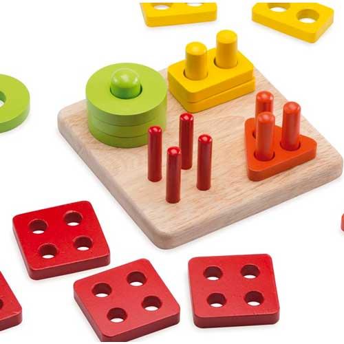 Clasificador de formas del 1 al 4 madera detalle 1