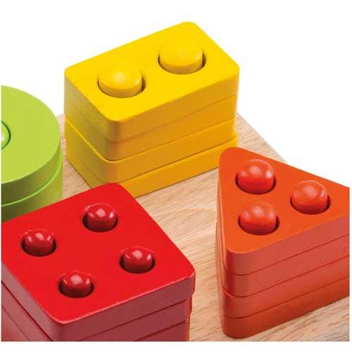 Clasificador de formas del 1 al 4 madera detalle 2