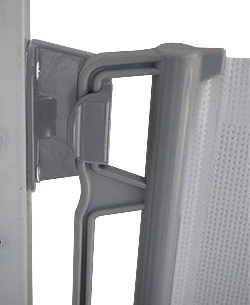 Puerta extensible de seguridad gris claro detalle 2