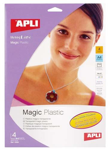 Plástico mágico transparente A4 4 hojas