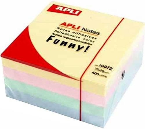 Notas adhesivas 75x75 mm 400 h pastel