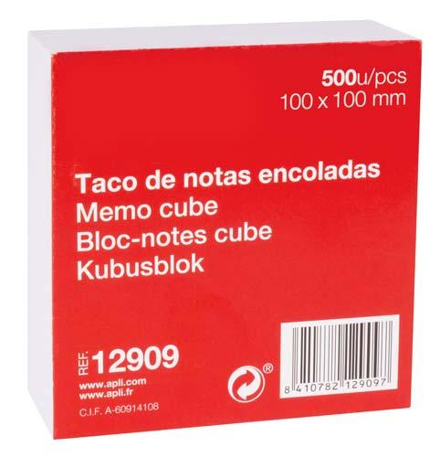 Bloc de notas encolado 100 x 100 mm 500 h