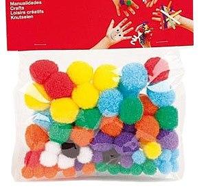 Pom pom diferentes tamaños y colores 78 ud