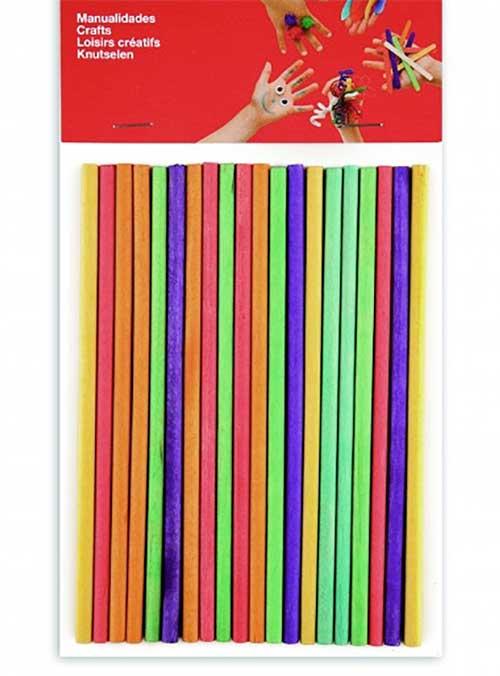 Palos madera redondos color 15 cm 25 ud