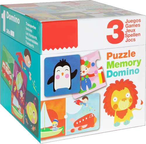 Pack puzzle + Dominó + Memory detalle de la caja