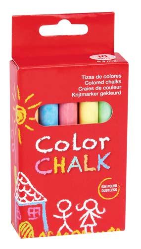 Tizas antipolvo color 10 ud