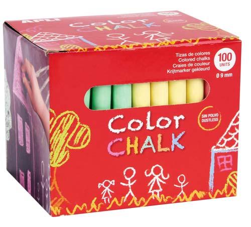 Tizas antipolvo color 100 ud